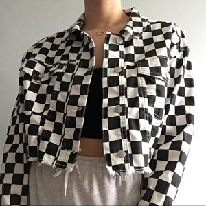 Cropped Checkered Jean Jacket